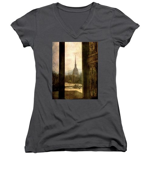 Watching Antonelliana Tower From The Window Women's V-Neck T-Shirt (Junior Cut) by Vittorio Chiampan