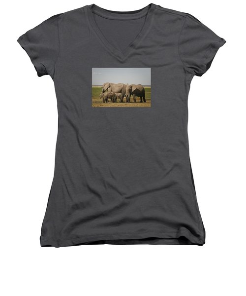 Women's V-Neck T-Shirt (Junior Cut) featuring the photograph Watching The Children by Gary Hall