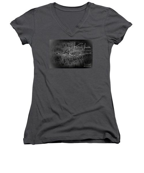 Women's V-Neck T-Shirt (Junior Cut) featuring the photograph Watching You Watching Me by Karen Lewis