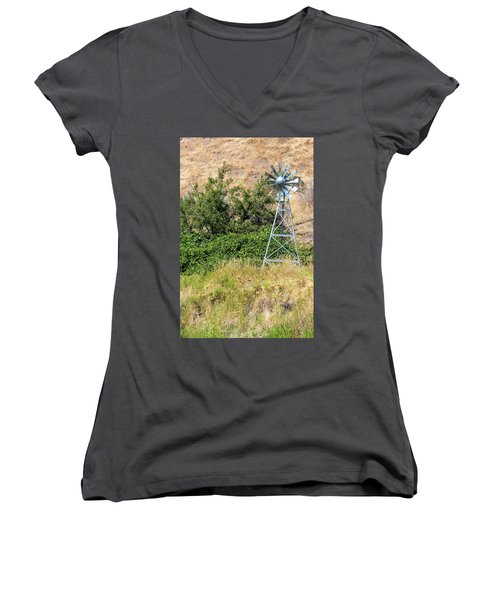 Water Aerating Windmill For Ponds And Lakes Women's V-Neck T-Shirt