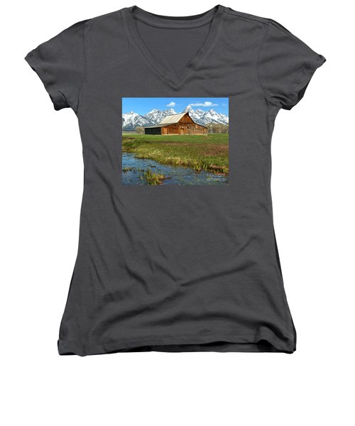 Water By The Barn Women's V-Neck T-Shirt (Junior Cut) by Adam Jewell