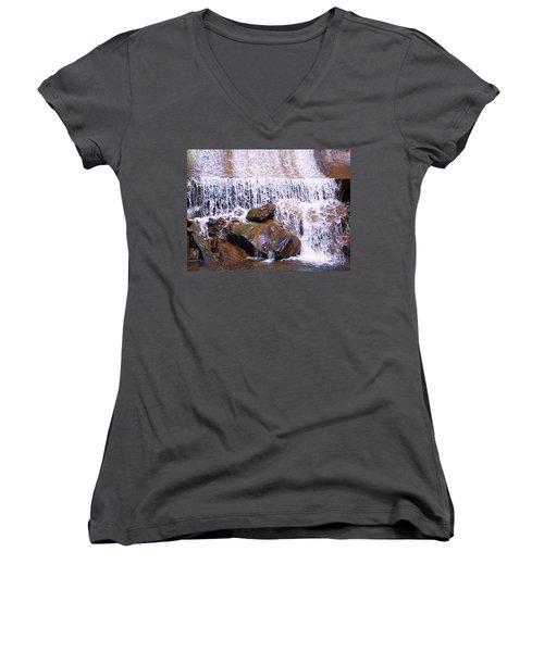 Women's V-Neck T-Shirt (Junior Cut) featuring the photograph Water Cascade by Roberta Byram