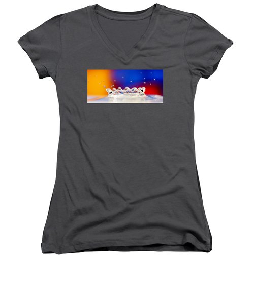 Water Drop Women's V-Neck T-Shirt (Junior Cut) by Colin Rayner