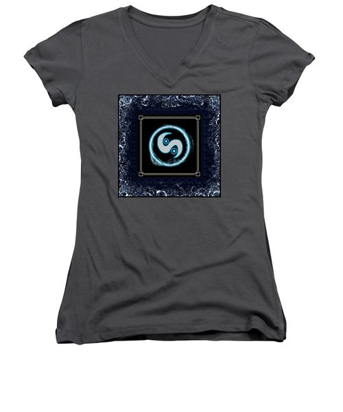 Women's V-Neck (Athletic Fit) featuring the digital art Water Emblem Sigil by Shawn Dall