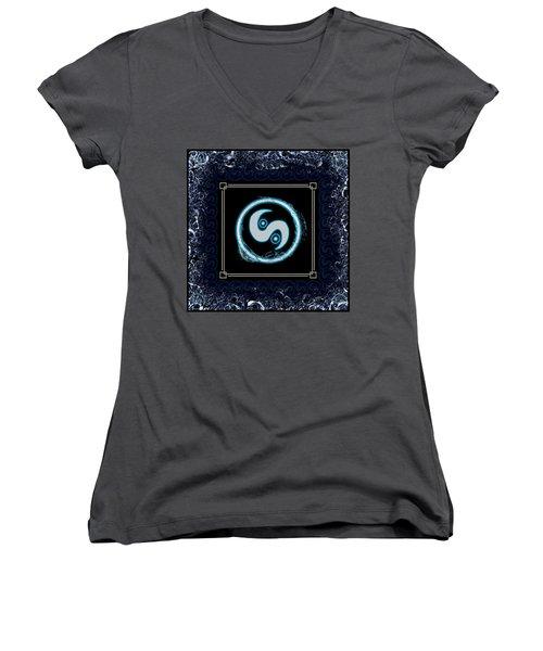 Women's V-Neck T-Shirt featuring the digital art Water Emblem Sigil by Shawn Dall