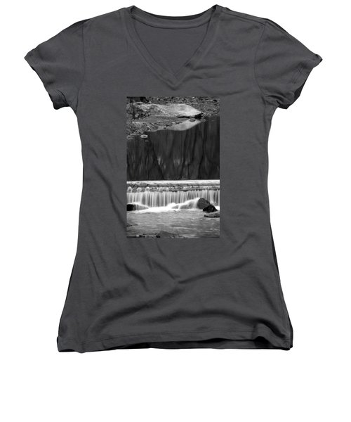 Water Fall And Reflexions Women's V-Neck T-Shirt (Junior Cut) by Dorin Adrian Berbier