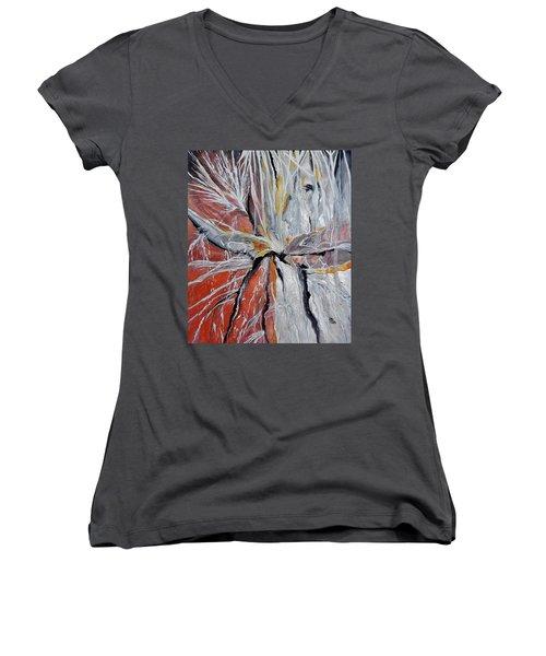 Water Leaks Women's V-Neck T-Shirt (Junior Cut) by Raymond Perez