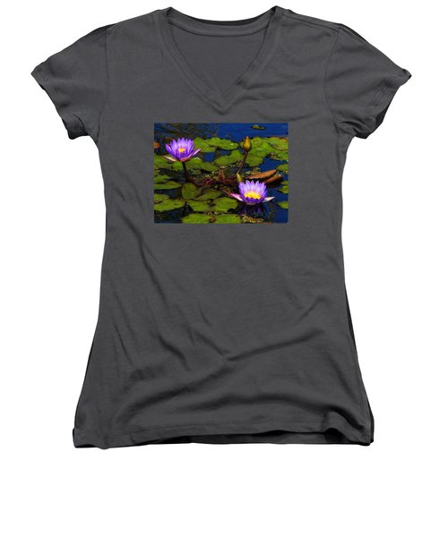 Water Lilies Iv Women's V-Neck (Athletic Fit)