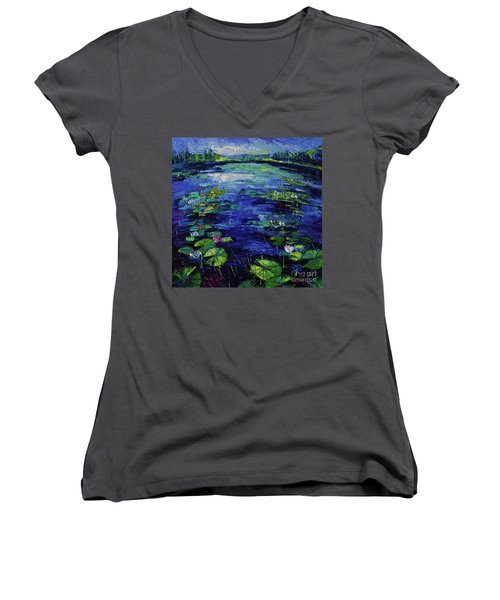 Water Lilies Magic Women's V-Neck (Athletic Fit)