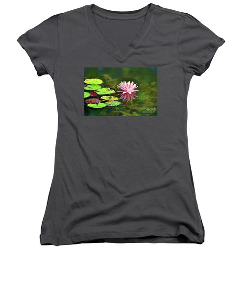 Water Lily And Frog Women's V-Neck T-Shirt (Junior Cut) by Savannah Gibbs