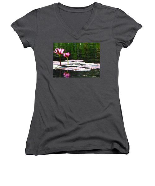 Women's V-Neck T-Shirt (Junior Cut) featuring the photograph Water Lily by Greg Patzer