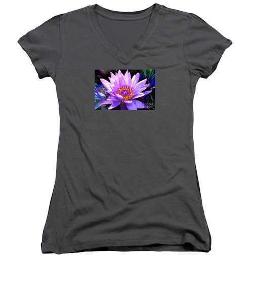 Water Lily In Purple Women's V-Neck T-Shirt (Junior Cut) by Jeannie Rhode