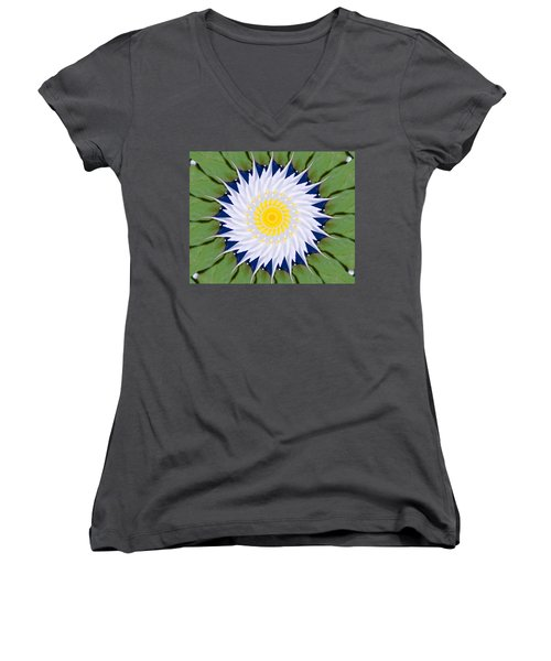 Water Lily Kaleidoscope Women's V-Neck T-Shirt (Junior Cut) by Bill Barber