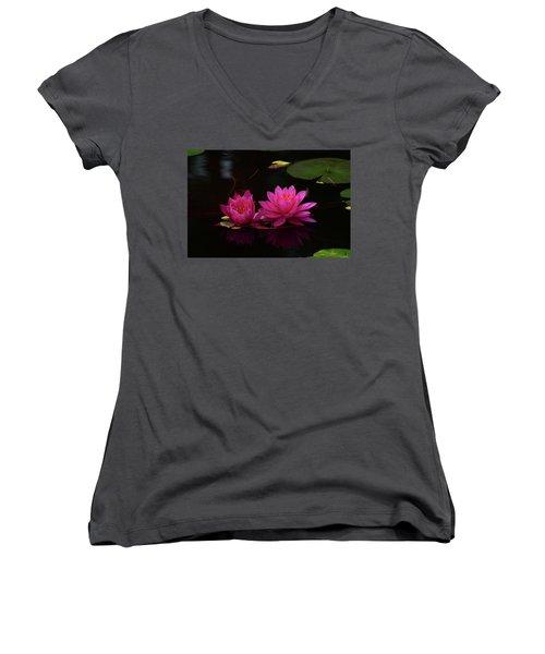 Water Lily Women's V-Neck T-Shirt (Junior Cut) by Nancy Landry