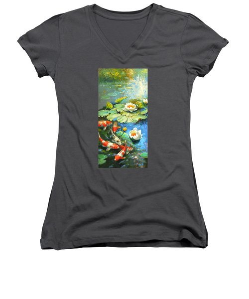Water Lily Or Solar Pond      Women's V-Neck T-Shirt