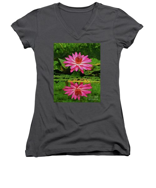 Hot Pink Water Lily Reflection Women's V-Neck T-Shirt (Junior Cut) by Larry Nieland