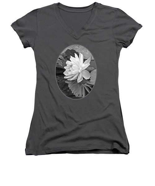 Water Lily Reflections In Black And White Women's V-Neck T-Shirt