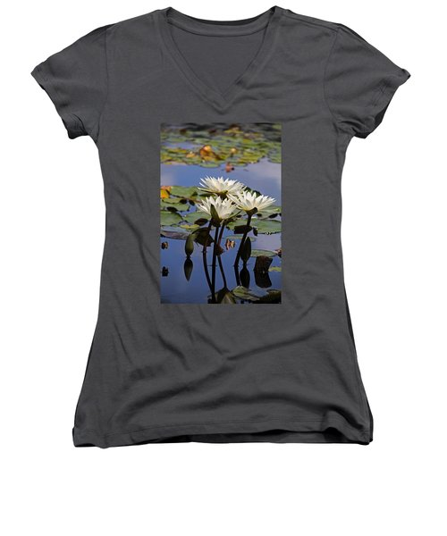 Water Lily Reflections Women's V-Neck
