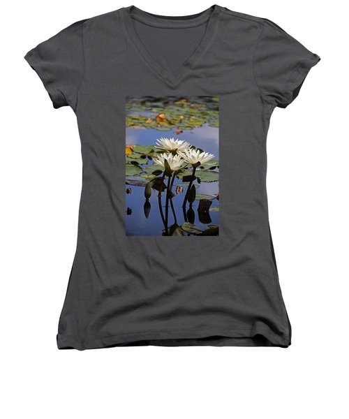 Water Lily Reflections Women's V-Neck T-Shirt (Junior Cut)