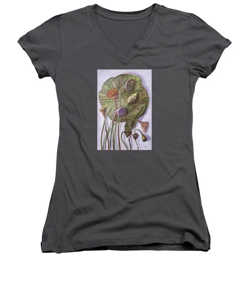 Water Lily Seed Pods Framed By A Leaf Women's V-Neck T-Shirt (Junior Cut) by Randy Burns