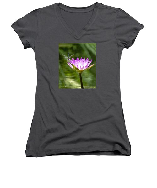 Women's V-Neck T-Shirt (Junior Cut) featuring the photograph Water Lily With Dragon Fly by Bill Barber