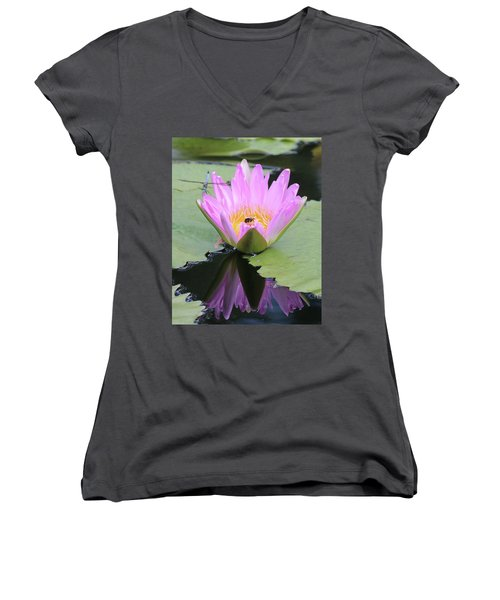 Water Lily With Dragon Fly Women's V-Neck