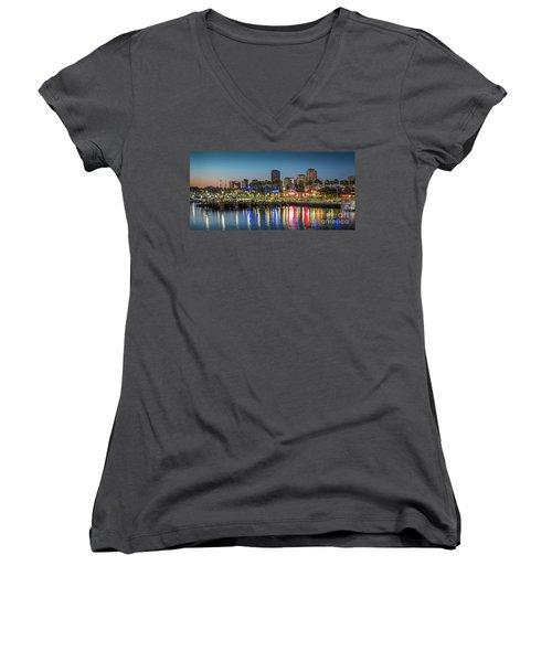 Water Reflecting Lights Sunset Long Beach Ca Women's V-Neck T-Shirt