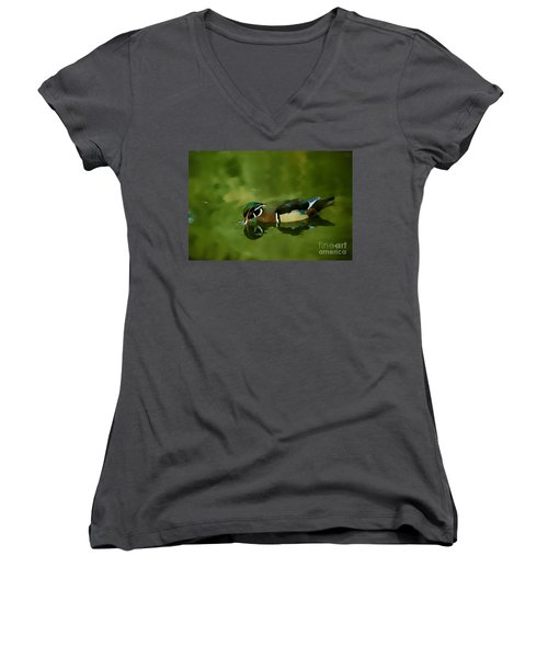 Male Wood Duck Water Reflections Women's V-Neck T-Shirt