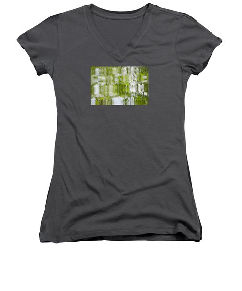 Women's V-Neck T-Shirt (Junior Cut) featuring the photograph Water Reflections by Wanda Krack