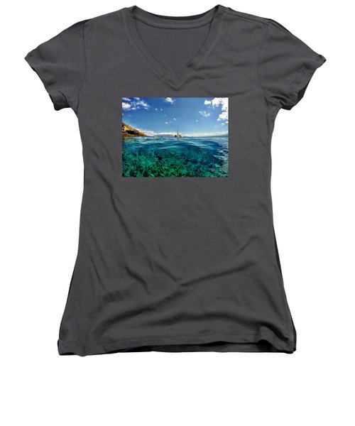 Women's V-Neck T-Shirt (Junior Cut) featuring the photograph Water Shot by Michael Albright