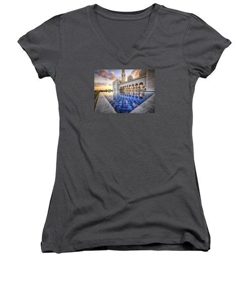 Women's V-Neck T-Shirt (Junior Cut) featuring the photograph Water Sunset Temple by John Swartz