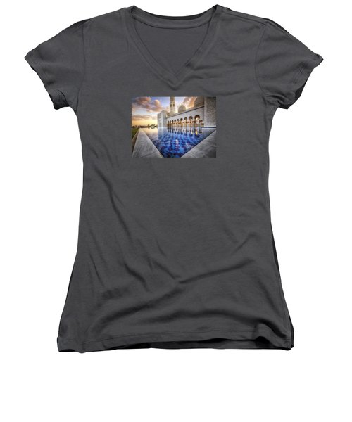 Water Sunset Temple Women's V-Neck (Athletic Fit)