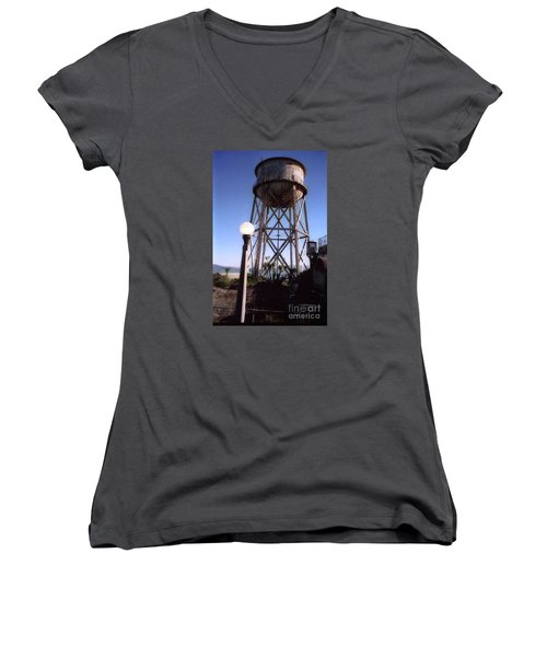 Water Tank Tower Alcartraz Women's V-Neck T-Shirt