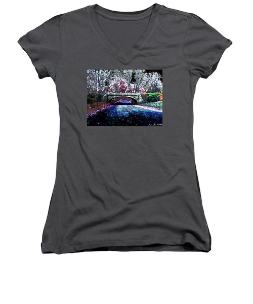Women's V-Neck T-Shirt (Junior Cut) featuring the photograph Water Under The Bridge by Iowan Stone-Flowers