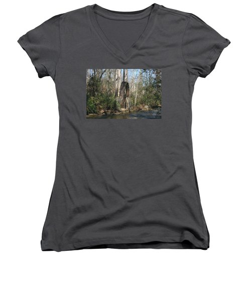 Women's V-Neck T-Shirt (Junior Cut) featuring the photograph Water Wheel by Cathy Harper