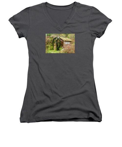 Water Wheel Women's V-Neck T-Shirt (Junior Cut) by Sean Griffin