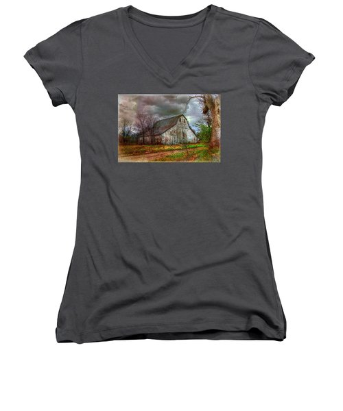 Watercolor Barn 2 Women's V-Neck T-Shirt (Junior Cut) by Karen McKenzie McAdoo