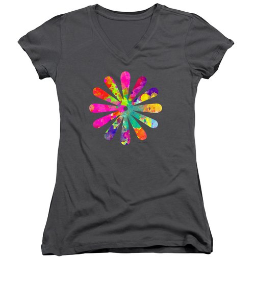 Watercolor Flower 2 - Tee Shirt Design Women's V-Neck (Athletic Fit)