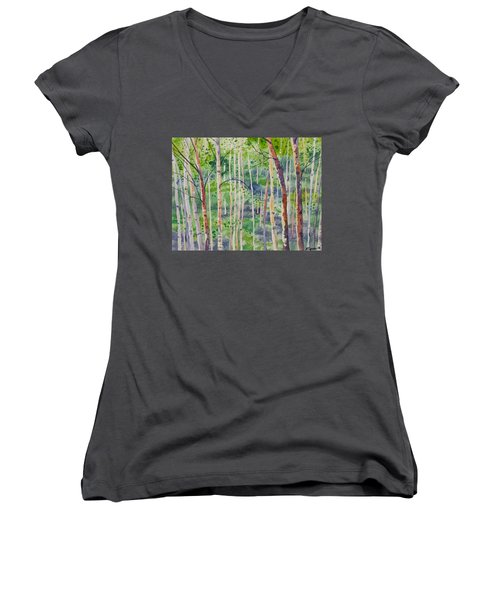 Watercolor - Magical Aspen Forest After A Spring Rain Women's V-Neck