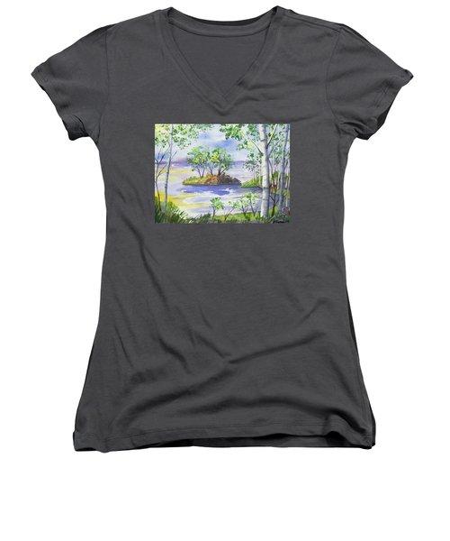 Watercolor - Minnesota North Shore Landscape Women's V-Neck