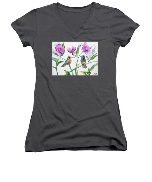 Watercolor - Purple-throated Mountain Gems And Flowers Women's V-Neck