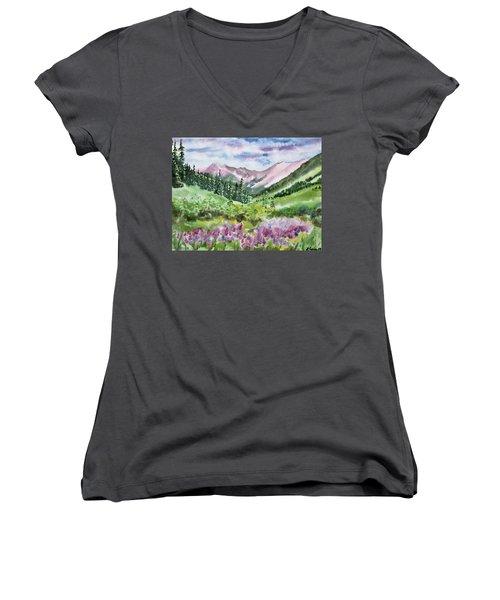 Watercolor - San Juans Mountain Landscape Women's V-Neck