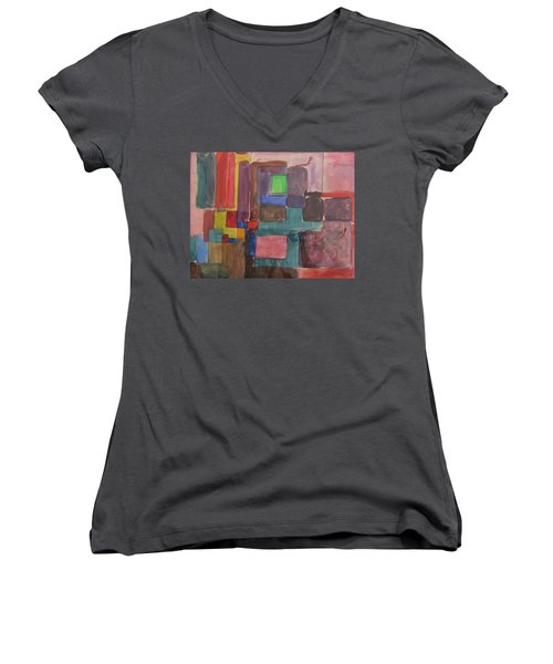 Watercolor Shapes Women's V-Neck T-Shirt (Junior Cut) by Barbara Yearty