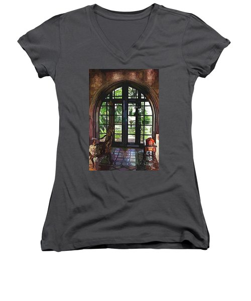 Watercolor View To The Past Women's V-Neck