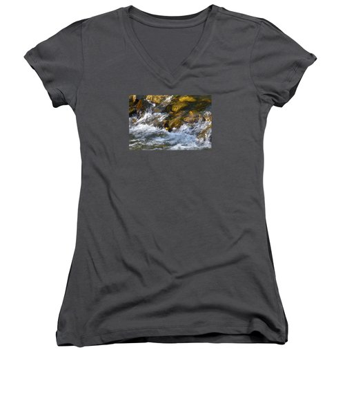 Women's V-Neck T-Shirt (Junior Cut) featuring the photograph Watercourse by Jean Bernard Roussilhe