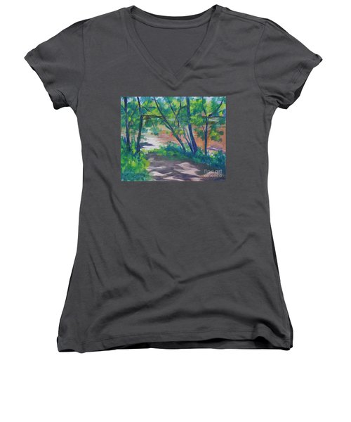 Watercress Beach On The Current River   Women's V-Neck T-Shirt
