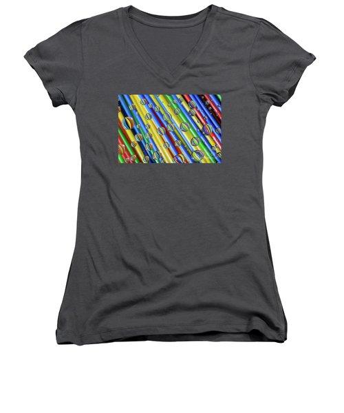 waterDroplets02 Women's V-Neck T-Shirt (Junior Cut) by Brian Roscorla