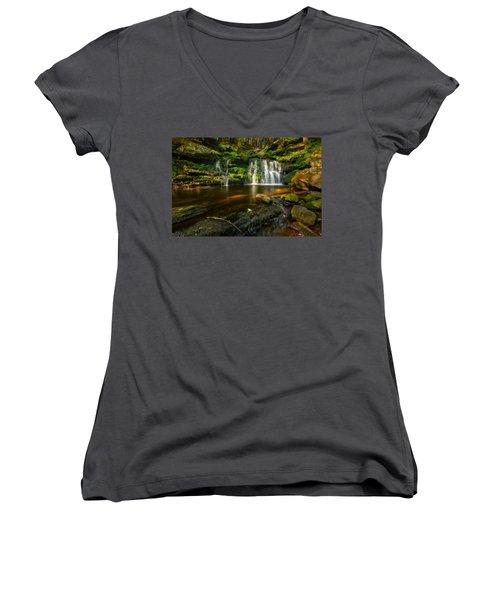 Waterfall At Day Pond State Park Women's V-Neck T-Shirt (Junior Cut) by Craig Szymanski