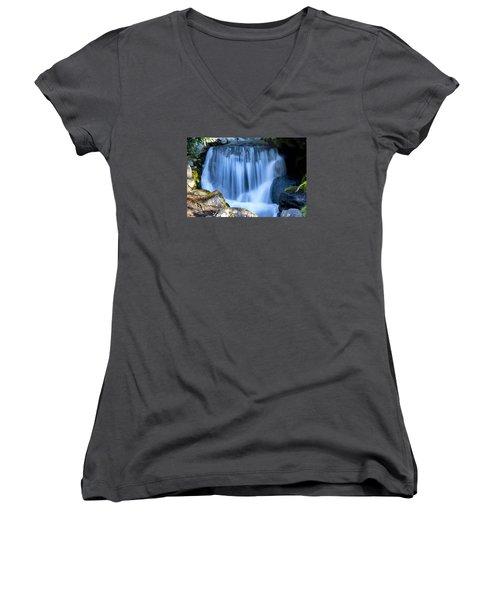 Waterfall At Dow Gardens, Midland Michigan Women's V-Neck T-Shirt (Junior Cut) by Pat Cook