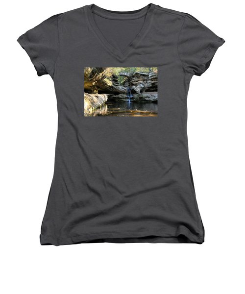 Waterfall At Old Man Cave Women's V-Neck (Athletic Fit)